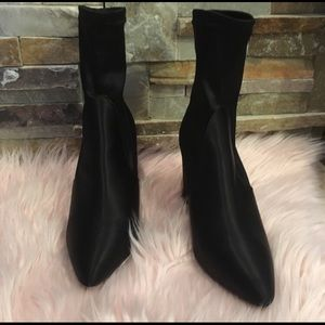 Express black satin sock  booties